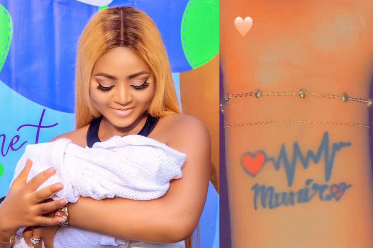Regina Daniels Tattoos Her Son's Name On Her Wrist To Prove Her Undying  Love For Him (PHOTO)