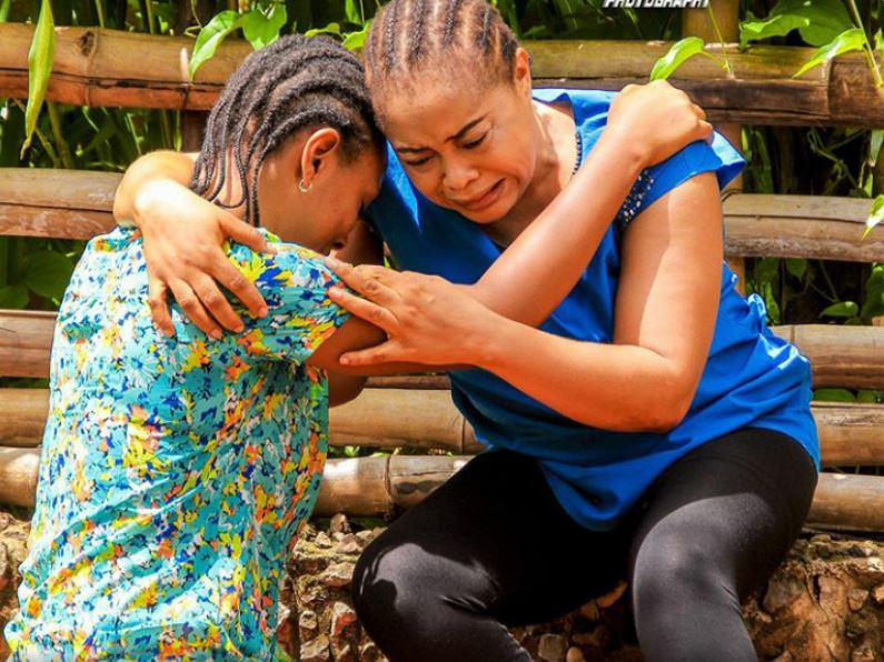 Nkiru Sylvanus Is Back To Crying Roles. See Pictures Of Her On Set (Photos)