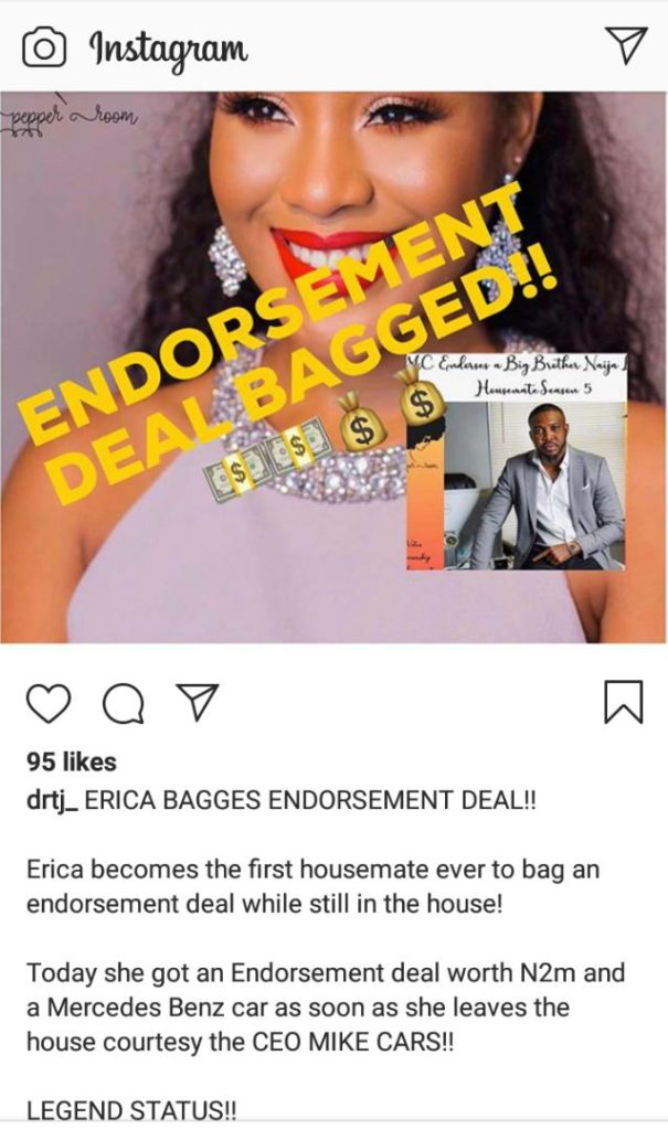 BBNaija 2020: Erica Gets A N2m Endorsement Deal While Still On The Show, BBNaija 2020: Erica Gets A N2m Endorsement Deal While Still On The Show, Latest Nigeria News, Daily Devotionals & Celebrity Gossips - Chidispalace