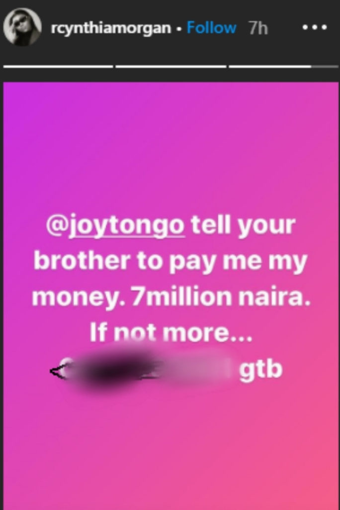 Cynthia Morgan allegedly accuses Jude Okoye again, over 7 million naira debt