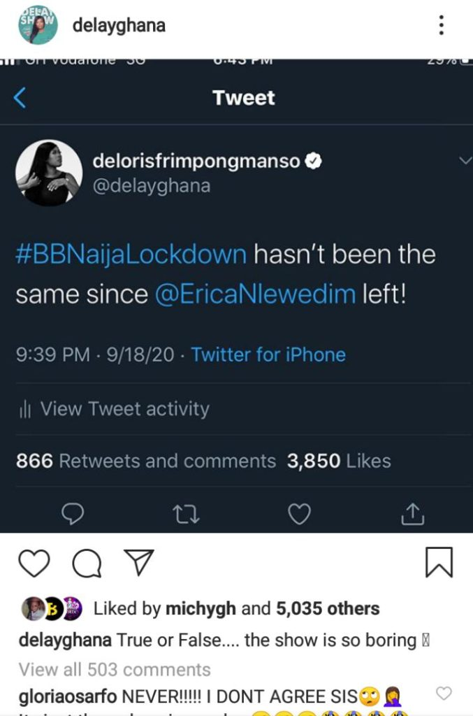 #BBNAIJA: The Show Has Been So Boring Ever Since Erica Left - Delay Claims