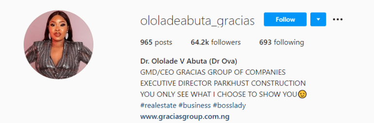 Real Estate Guru, Ololade Gets 20,000 New Instagram Followers Hours After She Gifted Iyabo Ojo A Range Rover