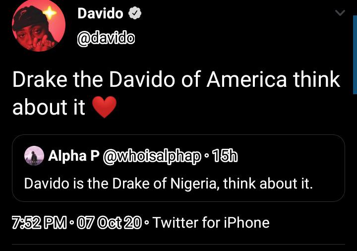 Drake Is The Davido Of America – Davido Brags