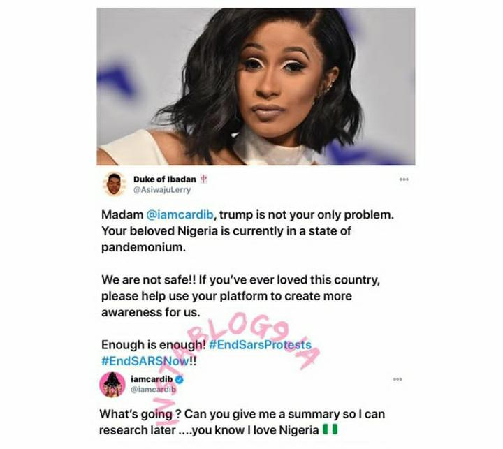 EndSARS: Cardi B set to weigh in, EndSARS: Cardi B set to weigh in after a Nigerian man called on her to help Nigeria over SARS brutality, Premium News24