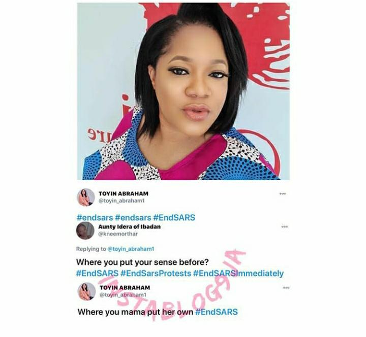Actress Toyin Abraham Knocks A Troll Who Asked Her Where She Kept Her Brain After She Joined The Protest