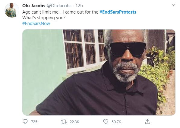 """""""Age Can't Limit Me,"""" Says Veteran Actor Olu Jacobs As He Joins EndSARS Protest (Photo)"""