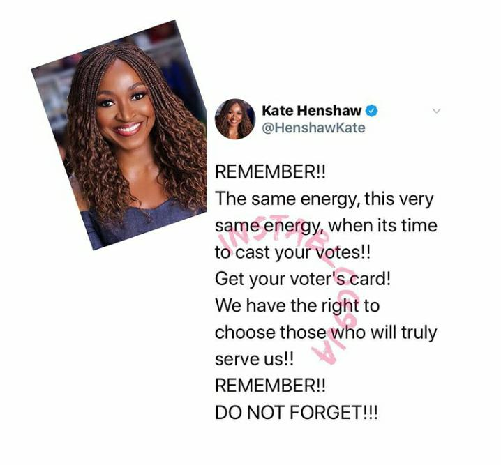 Vote with same energy come 2023 – Kate Henshaw advise Nigerians