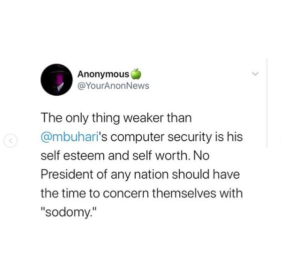 Anonymous Hackers Reveal President Buhari Engages In Sodomy (Photos)