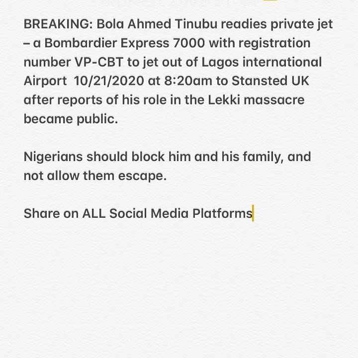 BREAKING: Bola Tinubu Ready To Flee Nigeria Amidst #ENDSARS Protest In The Country