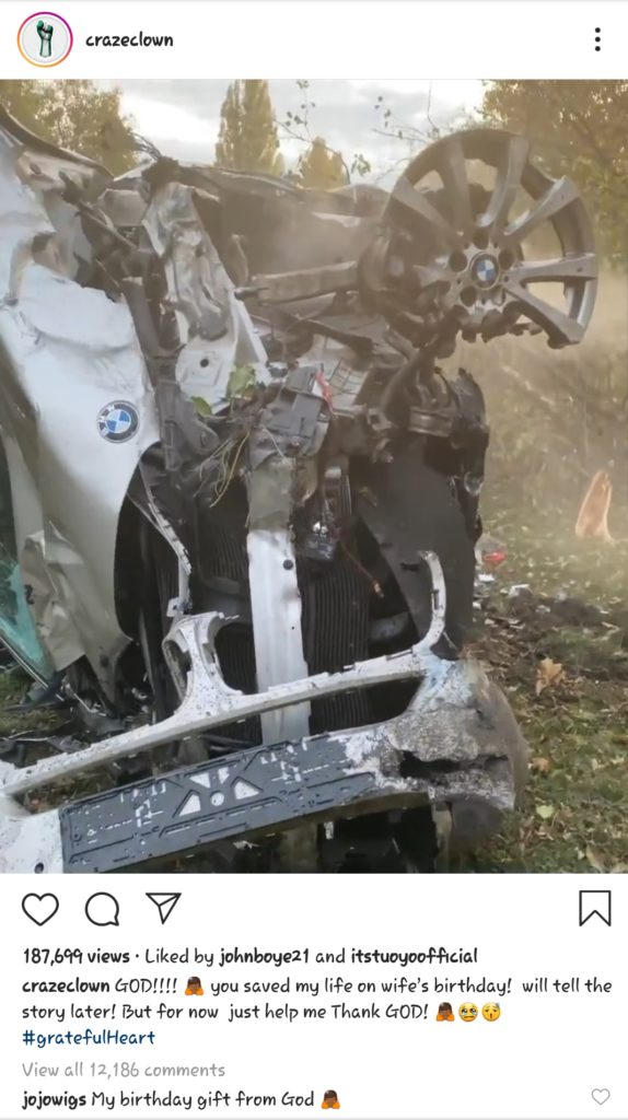 """""""My Birthday Gift From God"""" – Comedian Crazeclown's Wife Reacts To His Horrific Car Accident (Photo)"""