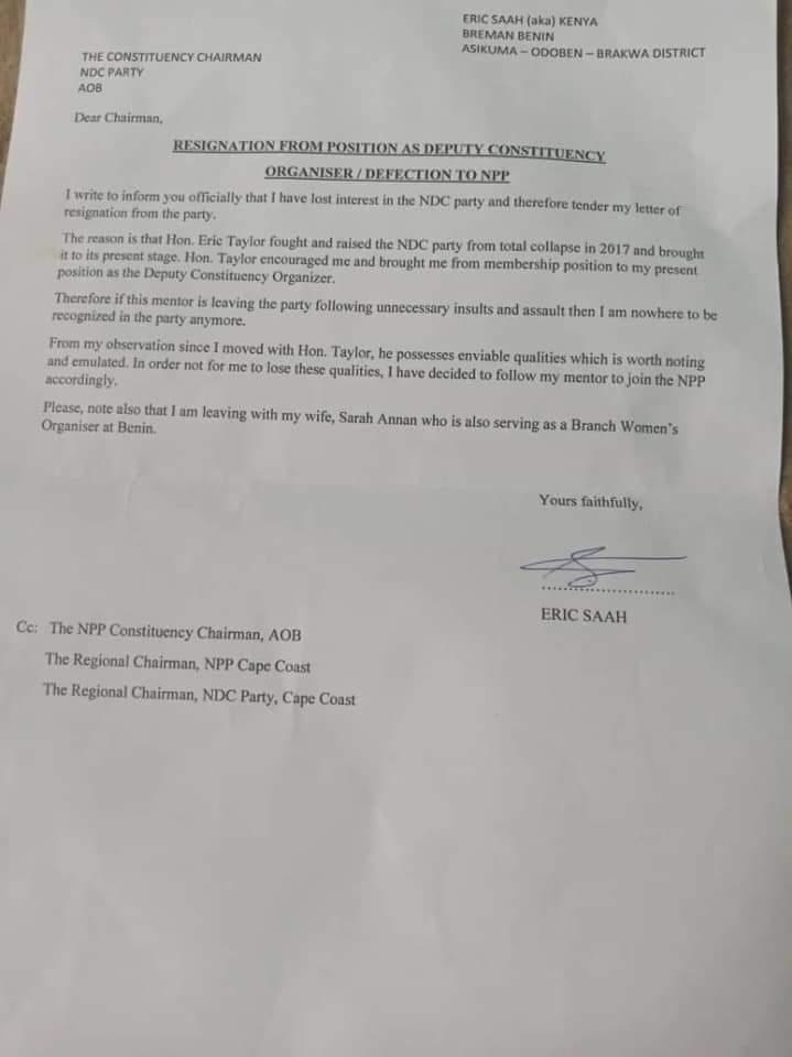 NDC Deputy Organiser For Asikuma Odoben Brakwa Constituency Has Resigned To  Join NPP