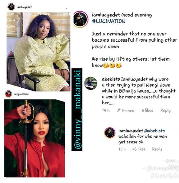 """Lucy fires back at Nengi's fans who consistently attacking her, Lucy fires back at Nengi's fans who consistently attacking her, """"Wahala for who no wan get sense"""", Latest Nigeria News, Daily Devotionals & Celebrity Gossips - Chidispalace"""