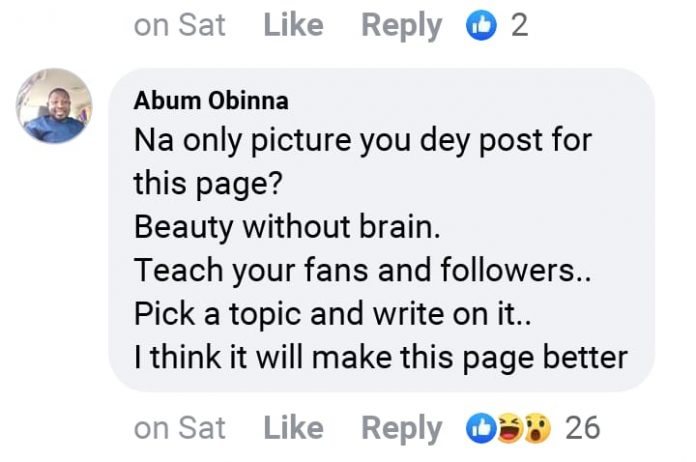 """""""Beauty Without Brain"""" – Fan Blasts Chika Ike For Posting Only Photos On Social Media"""