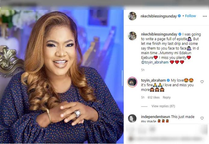 """""""It's Fine I love you more""""- Toyin Abraham REPLIES Nkechi Blessing After Rendering Apology"""