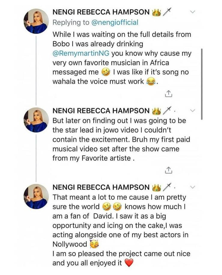 This Is How Nengi Landed Her Role In Davido's Jowo