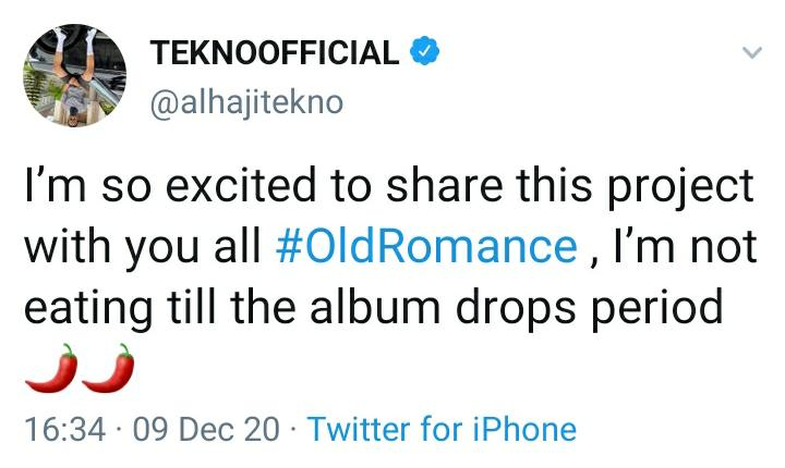 Tekno Vows Not To Eat Until His Album 'Old Romance' Is Released