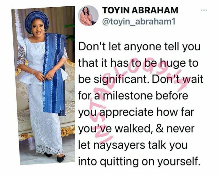 Don't Let Anyone Tell You That It Has To Be Huge To Be Significant – Actress Toyin Abraham Advises