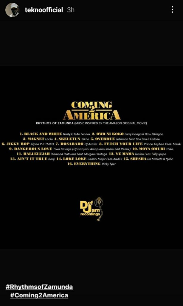 Another Big One For Tekno As His Song Skeleton Gets Featured In Coming To America 2