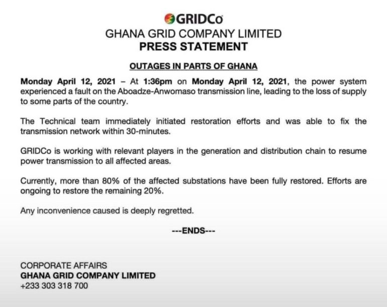 GRIDCo Addresses Power Outages