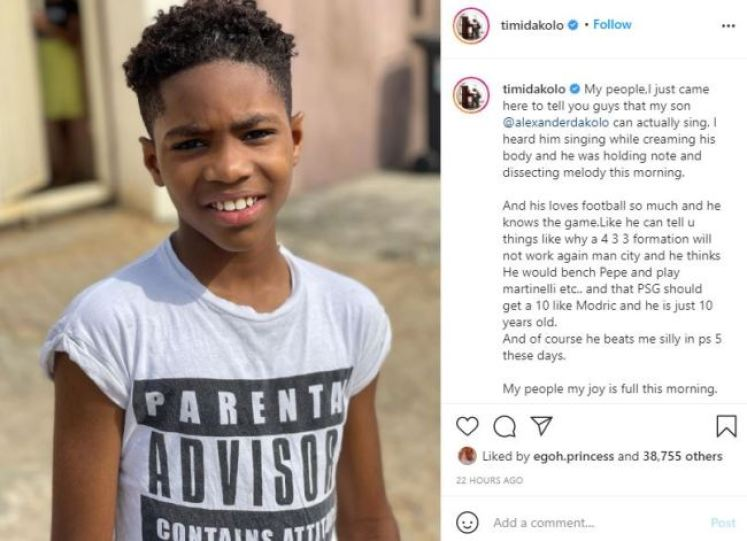 'My Joy is Full' – Timi Dakolo Excited His 10-Year-Old Son Can Sing