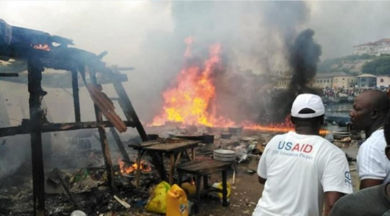 Two Injured As Fire Destroys Part Of Elmina Fishing Market [Photos]