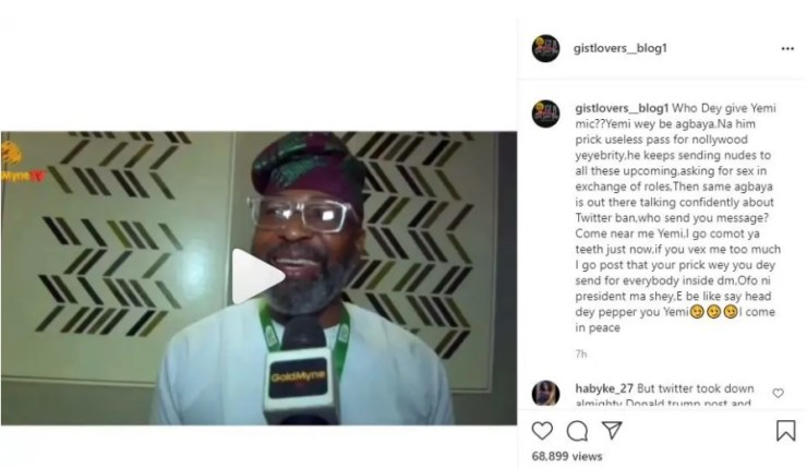 Actor Yemi Solade Accused of Sending Nudes to Upcoming Actors And Requesting Sex In Exchange For Roles