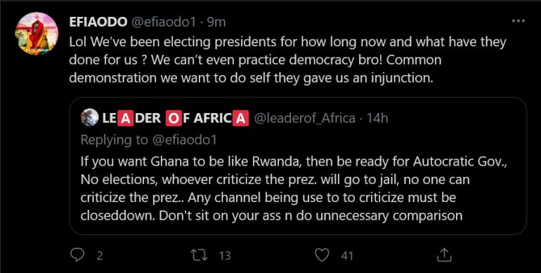 Efia Odo Response To A Fan Who Said She Should Be Ready For An Autocratic Ghana