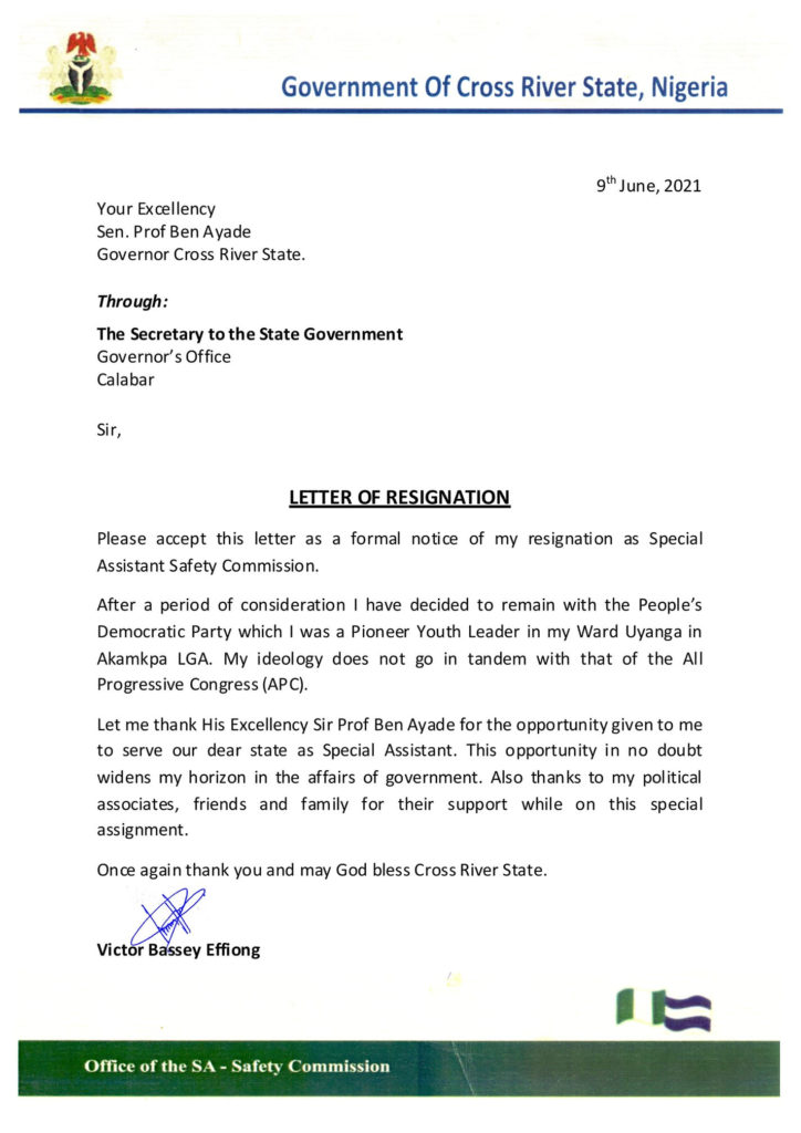 Victor Effiong, Governor Ayade's Aide Submits Resignation Letter