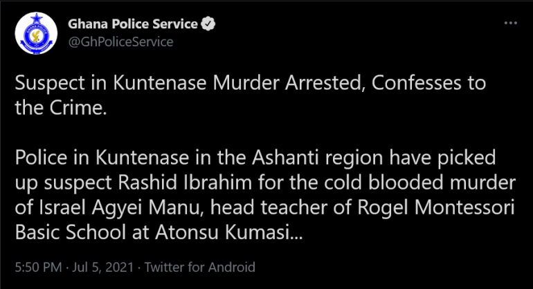 Screenshot 2021 07 05 at 18 32 33 Ghana Police Service on Twitter