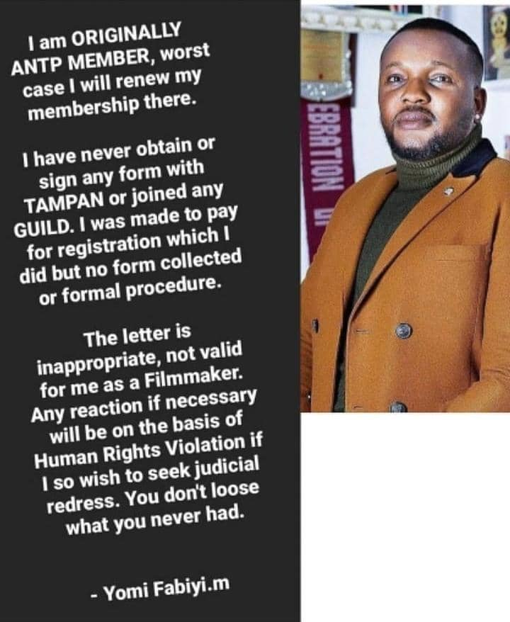 Yomi Fabiyi Reacts After Being Suspended By TAMPAN Over His Movie Oko Iyabo