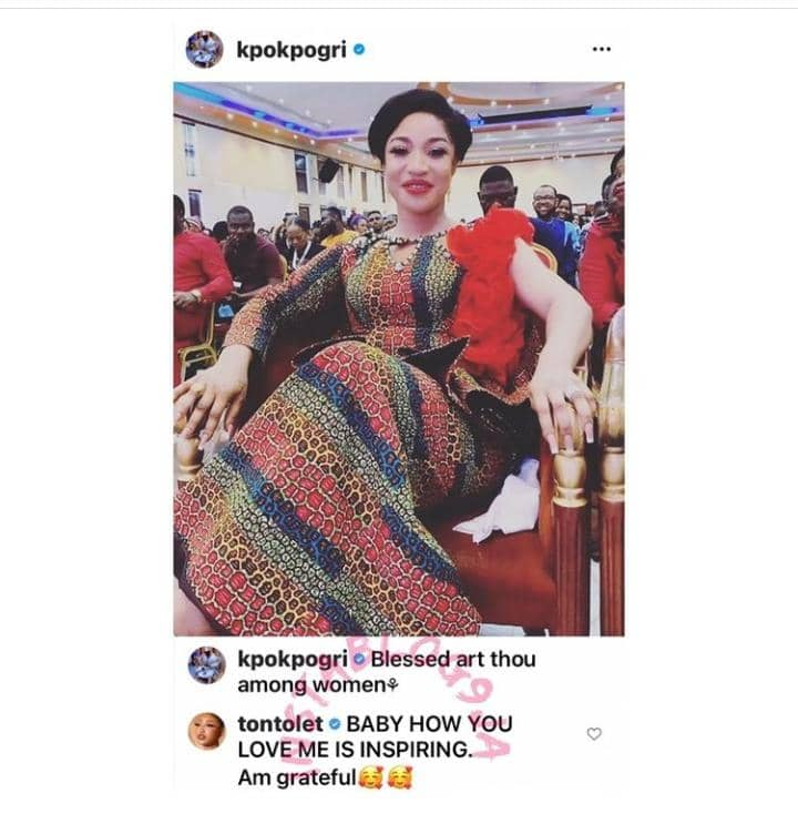 Tonto Dikeh Reacts After Her Man Prince Kpokpogri Praised Her