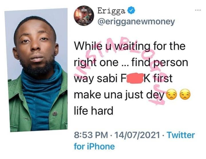 While Waiting For The Right Person, Rapper Erigga Discloses What To Do First