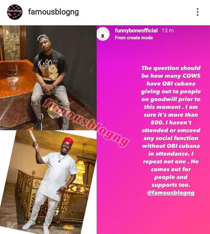 Funnybone Tackles Dr. Penking For Saying Obi Cubana Didn't Get Plenty Gift Because He Is Good But Rich