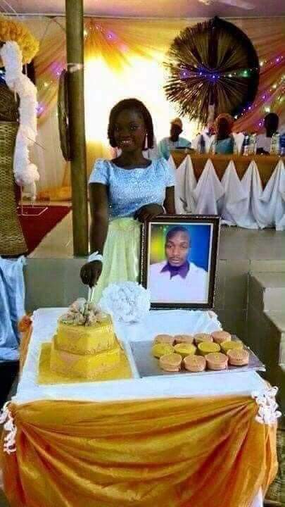"""""""She Wanted Marriage And She Got It"""" – Reactions As Lady Gets Married To Photo Of Her Lover In Holy Matrimony"""