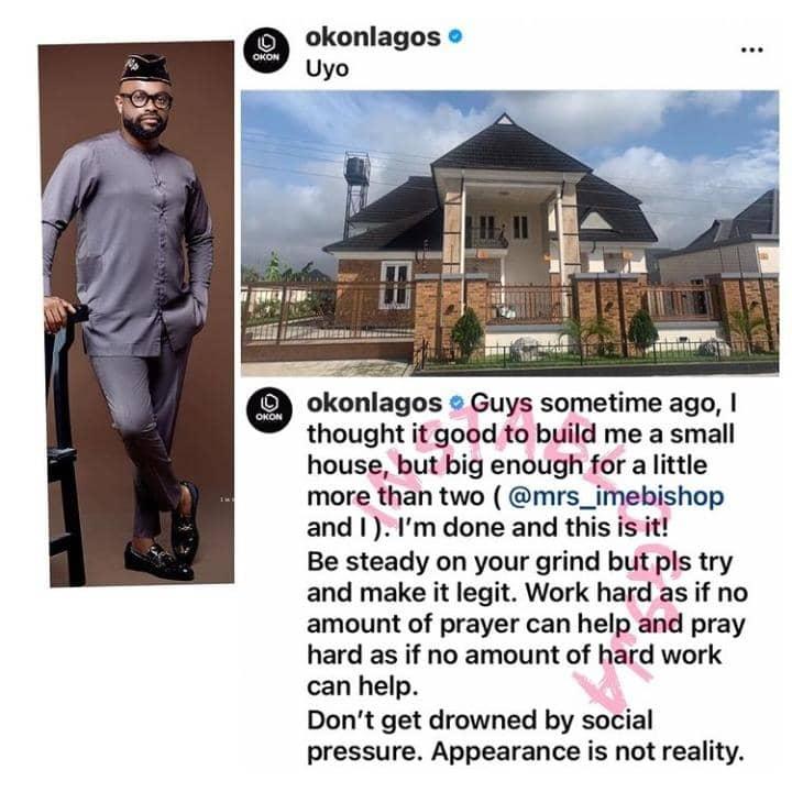 Okon Lagos Shows Off His New Mansion