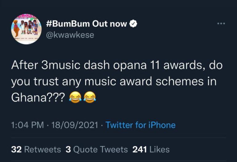 """Do You Trust Any Music Awards Scheme In Ghana After 3Music Dash Opana 11 Awards""-Kwaw Kese Reacts To Shatta Wale And Sadiq Saga"