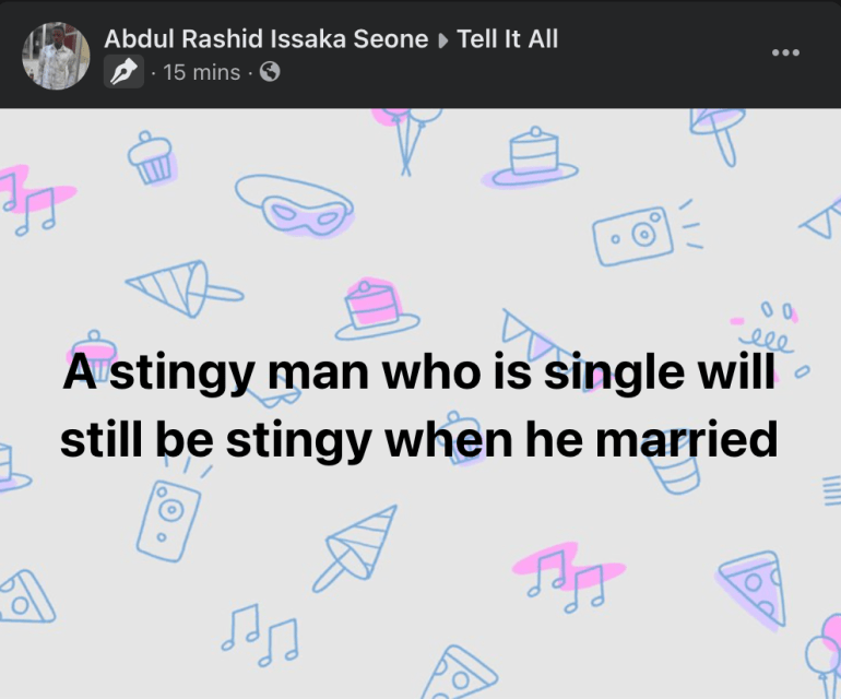 'A Stingy Man Who Is Single Will Still Be Stingy When Married'