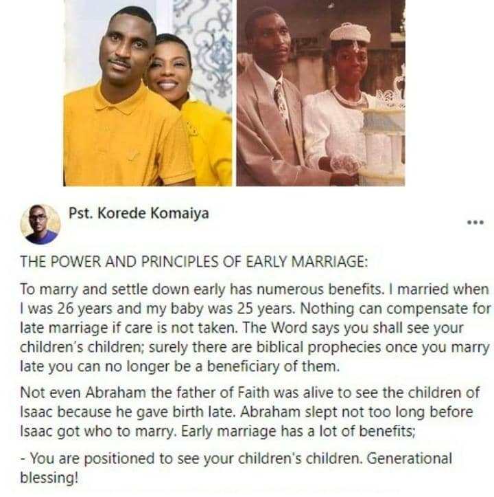 Clergyman Korede Urges People To Marry Early As He Lists Some Benefits Of Marrying Early