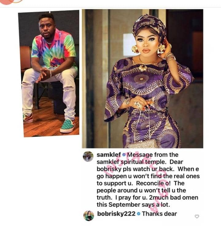 Bobrisky 'Humbly' Reacts To Samklef's Advice Asking Him To Reconcile