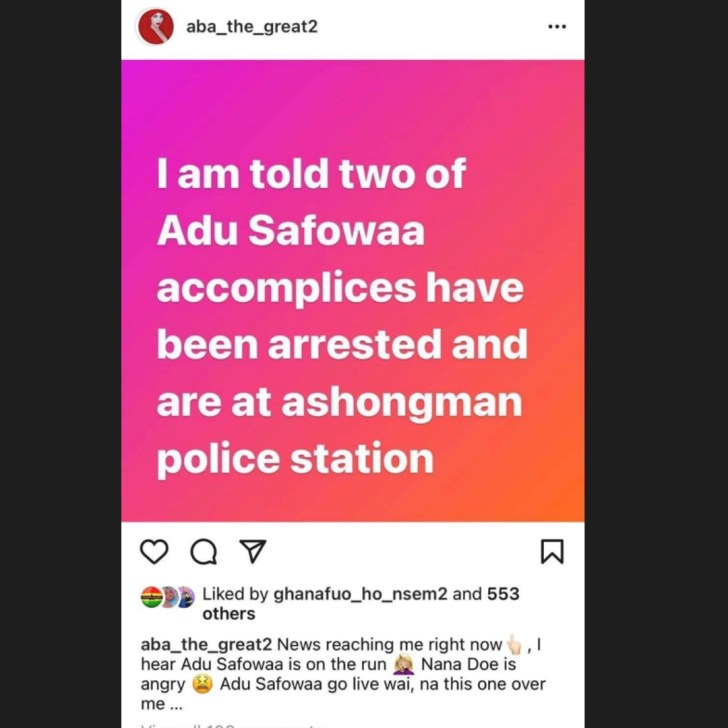 Adu Safowaa Allegedly On The Run As Ashongman Police Chase Her After For Threatening Nana Aba Anamoah, Two Accomplices Arrested