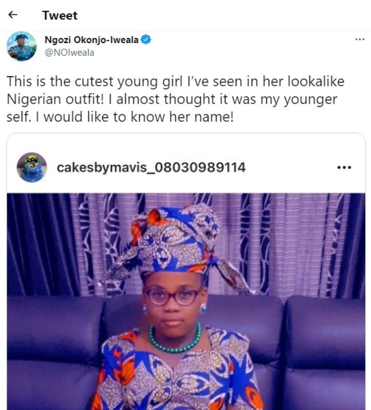 This is The Cutest Girl I've Ever Seen – WTO DG, Okonjo-Iweala Reacts After Seeing Little Dressed Like Her