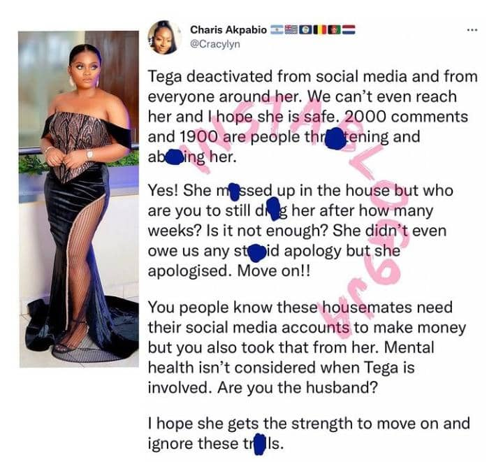 We Can't Reach Her - Friend Of BBNaija Tega Raises Alarm After She Deactivated Her IG