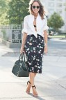Women Button Down White Shirt and Skirt Outfits