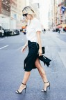 Black Skirt with White Button Down Shirt