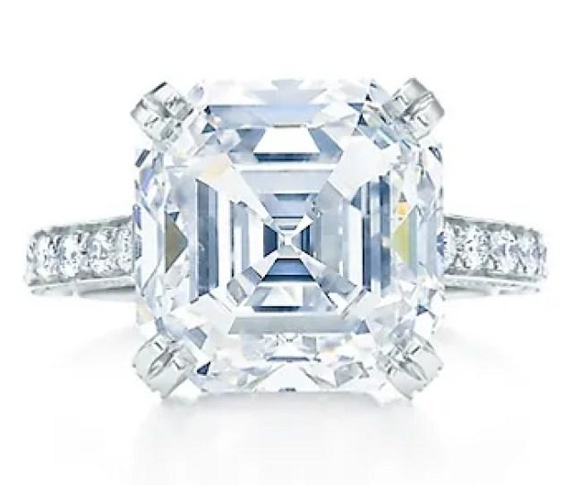Tiffany And Co Platinum Engagement Ring With  Carat Emeraldcut Center Diamond Round Brilliantcut