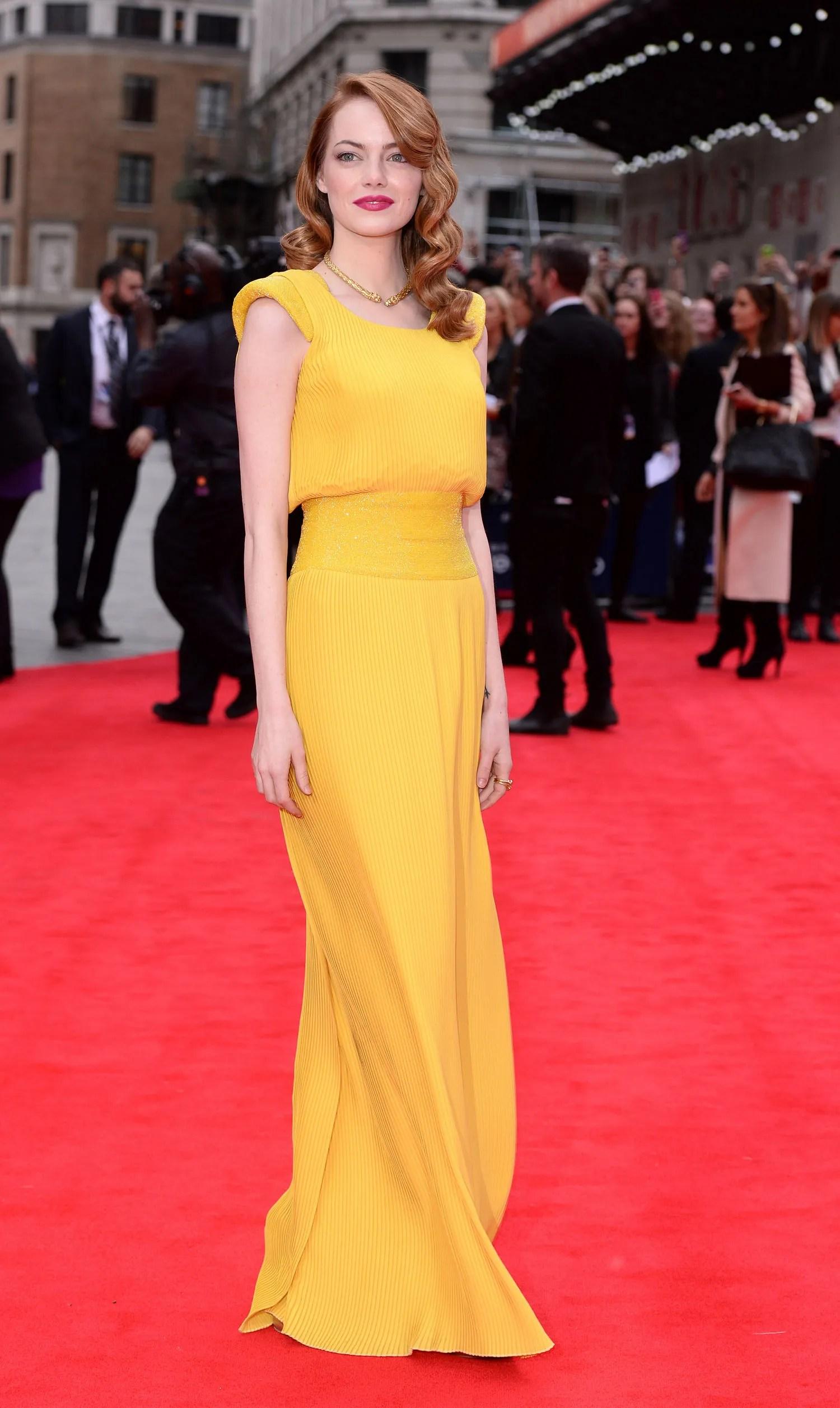Emma Stones Saint Laurent Jacket Atelier Versace Yellow