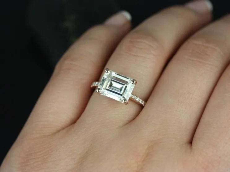 East West Engagement Rings Horizontal Engagement Rings