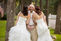 Single Twin Sisters Stage Wedding With Father