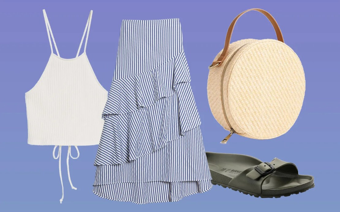 Pair a strappy knit crop top with your breeziest tiered maxiskirt. Then dial up the summer vibes with a straw bag and easy slide sandals.