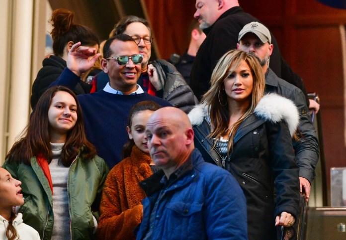 Jennifer Lopez and Alex Rodriguez on the set of Lopez's new movie Hustlers.